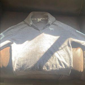 PINK grey quarter zip sweater